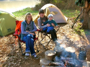 My best friend, Lauren, me and Amos, camping December 2011.
